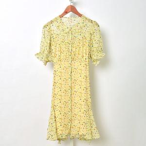 2020 ربيع الخريف قصيرة جولة كم عنق الزهور طباعة الحرير نصب منصة واحدة اعتلى قصيرة البسيطة اللباس أزياء النساء فساتين S2718209
