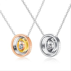 Exquisite couple's three-color three-ring stainless steel CZ pendant necklaces stainless steel necklaces stainless steel jewelry GJ1415