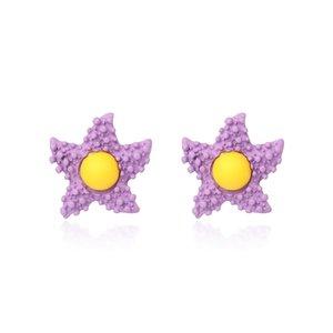 2020 New Candy-colored Childlike Egg Yolk Star Earrings Purple Star Lovely Flower Earrings Girl