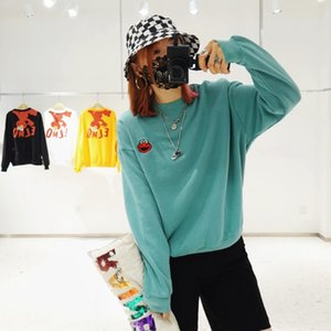 0WbuB Adkhal ранней осенью вышитые мультфильм свитер женщин Улица Сезам pulloversweater новый свитер вокруг шеи свободно корейски возрастное повторно
