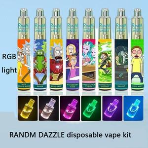 Аутентичные DALDM Dazzle одноразовые устройства POD с RGB Light 2000 Puffs 6 мл 5% USB 1100 мАч Батарея без перезаряжаемого неполноможенного набора Vape