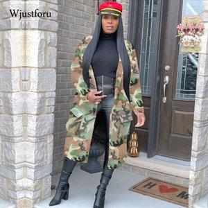 Wjustforu inverno vestiti del rivestimento delle donne Streetwear Camouflage Stampa Allungare cappotto tasca di modo del rivestimento di caduta Abbigliamento Donna 201012