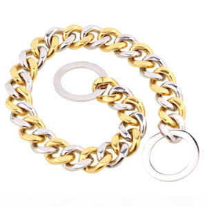 12-34inch 15mm 316L Stainless Steel Gold-silver Color High Quality Dog Pet Link Chain Collars Necklace VICHOK