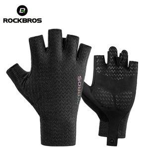 ROCKBROS Cycling Gloves Autumn Spring MTB Bike Gloves SBR Pad Half Finger Bicycle Goves Men Women Breathable Shockproof Gloves 201021