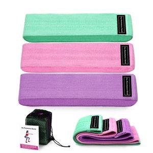 a buon mercato 3 pezzi di resistenza del tessuto delle bande di robinazione della banda del bottino dell'attrezzatura della palestra che allenano la banda elastica elastica per la formazione dell'anca del fitness degli sport di yoga