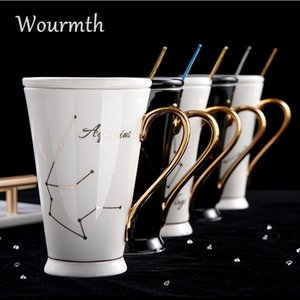 Wourmth 12 constelaciones Tazas Blanco y oro Hueso China Taza de leche de café de porcelana con cuchara de acero inoxidable Copa de cerámica Zodiaco Y200104