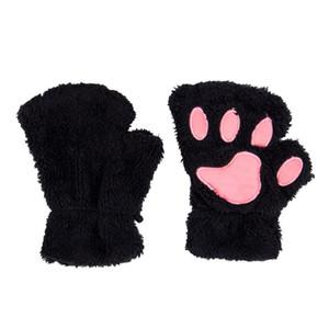 Fashion Lovely Women Warm Winter Cat Claw Mitten Plush Glove Costume Half Finger