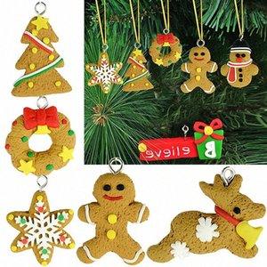 Party Decor hombre de pan de jengibre ornamentos de ciervos de la Navidad del muñeco de Chrismas 6Pcs árbol colgante Decoracion Navidad Año Nuevo Suplies c3Uk #
