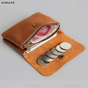 Simline en cuir véritable hommes Wallet Femmes Vintage Court Petit Mini Portefeuilles d'homme Porte-monnaie Porte-cartes poche zippée Carteira