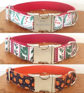 Personalized Dog Collar Nylon Printed Christmas Deer Halloween Pumpkin Engraved Collar for Small Medium Large Dogs Collars Puppy1