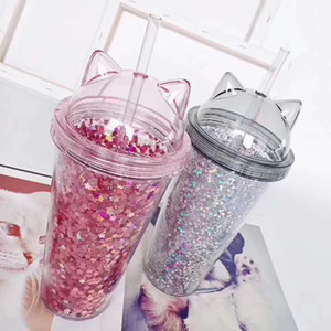 Newest Cat Ear styles Flashing Double Layer Cup Cute Cartoon Creative Plastic Cups Sequin Juice Gift Cup 9056