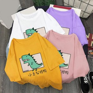 Womens O Neck Dinosaur Print Loose t shirt Unisex Soft Casual Female Tops 2020 Summer Streetwear Casual T Shirts Couple