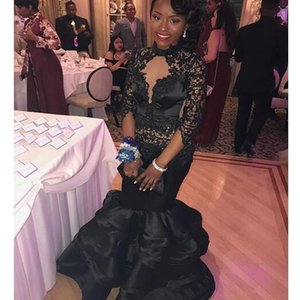 Black Lace Mermaid Prom Dresses 2021 Long Sleeves High Neck Tiered African Girl Evening Dress Women Long Party Gowns Customize