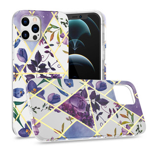 2021 New Marble Cover for iPhone 11 Pro Max 12 XR 7 8 Plus Phone Cover Shockproof Electroplating Geometric TPU Marble Phone Case