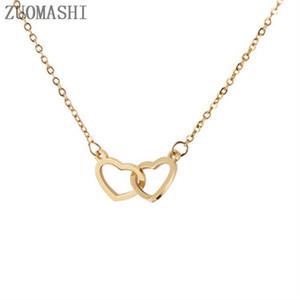 Pendant Necklaces Simple Double Heart Necklace Dainty Link Pendants For Women Love Jewellery Bijoux Femme Collier Choker 316L
