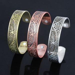 SG Punk Ankle Bracelet Life Tree Engraved Bangle Viking Magnetic Cuff Bracelets Letter My Shape Bangles Men Women Jewelry Gift HvKV#