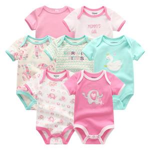 7PCS LOT Baby Rompers 2020 Short Sleeve 100%Cotton overalls Newborn clothes roupas de bebe boys girls jumpsuit baby clothes Y1113