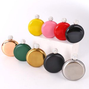 Rhinestone Lid Hip Flasks Fashion Stainless Steel Mini Hip Flask Round Wine Pot Creative Portable Wine Bottle