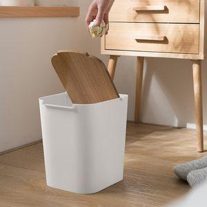 Material de escritório doméstico de lixo material criativo mini lixo balde de desktop com lixeira de madeira lixeira de carro pequeno lj201128