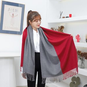 Wool scarf women winter warmth thickened two-color double-sided scarf hit color fringed shawl autumn and winter cashmere