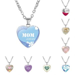 Nuovo arrivo Love You Mom ciondolo collana in vetro a forma di cuore migliore mamma mai fascino per le donne mamma gioielli moda gioielli regalo della mamma 322 G2