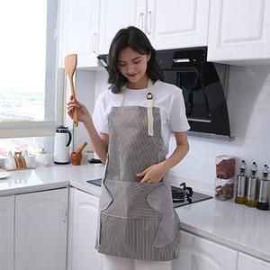 Элюбируемый ручной кухонный фартук нефть водонепроницаемый Оксфорд ткань полосатый стиль нагрудник с карманным регулируемым лентом шеф-повар кулинарные фартуки DBC BH4601