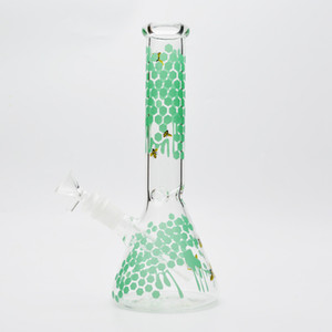 2021 11 inch beaker bong hand painting Green bee glass water pipe 5MM thick dab rigs oil rigs cool recycler