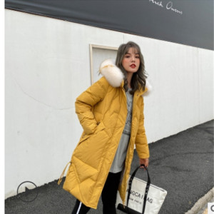 Off-season new medium and long down jacket for women fishtail with large fur collar, loose and thickened white duck down co 201127