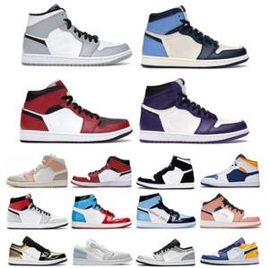 Jumpman 1 Basketbol Ayakkabı Atletizm Sneakers Koşu Ayakkabı Kadın Spor Travis Scotts Işık Duman Gri Milan Obsidiyen Çiftleri Düşük Karanlık Mocha