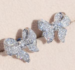 Sterling Silver Прекрасный лук конструктор серьги Сияющий Кристалл Роскошные Симпатичные серьги CZ Алмазный камень ювелирные изделия для женщин
