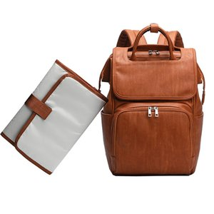 Large PU Leather Diaper Backpack With Changing Pad for Mom Brown Stroller Organizer Diaper Bags Maternity Travel Baby Nappy Bags