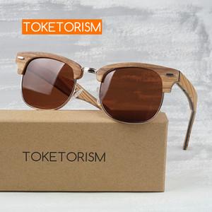 Toketorism деревянные мужчины поляризованным день рождения подарок женщины старинные деревянные половина кадра солнцезащитные очки 6303