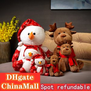 Christmas gift elk Snowman plush toy doll for girls holding New Year gift annual meeting gift wholesale