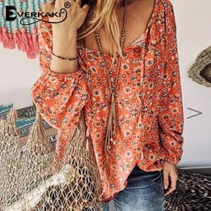 Everkaki Ethnic Boho Stampa camicetta Donna Top Estate Camicie Donna vacanze Beach Top camicette Femminile 2020 Autunno New Fashion