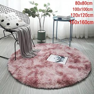 Solid Gradient Carpet Thicker Rugs Non-slip Round Mat Bathroom Area Rug Soft Fluffy Child Bedroom Mats For Living Room1
