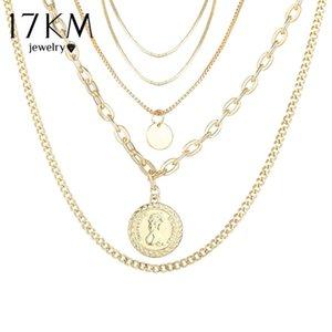 2021 17KM Portrait Bohemian Fashion Chain For Necklace Women 2PCS Set Jewelry Pendant Necklaces Multilayer Gold Choker Qirdw