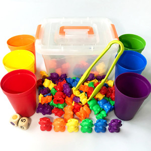 Montessori Counting Bears Children's Sorting Cups Sensory Math Toys Matching Game Early Learning Educational for Kids Gift