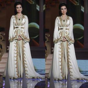 Caftan marocain Kaftan Dubaï Abaya arabe à manches longues robes de soirée incroyable d'or broderie V-neck Occasion Prom robe de cérémonie