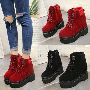 Masorini Женщина голеностопного Snow Boots платформа Зима 2020 Женские Повседневная обувь Клин 12 CM Lady Solid Короткие сапоги Velvet Fur W-290