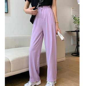 #1912 Summer Black Purple High Waisted Pants Women Straight Wide Leg Formal Pants Thin Loose Womens Loose Casual Trousers