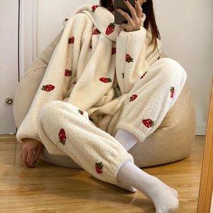 Lugentolo Plush Pajamas два частя набор женщин сладкий и милый клубничный принт шарф карманы V-образные наборы для женщин