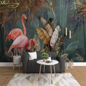 beibehang Custom 3D Mural Wallpaper Tropical Plant Forest Banana Leaf Flamingo Photo Wall Papers Home Decor For Living Room