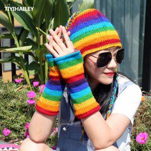 TIYIHAILEY Free Shipping 2020 New Fashion Rainbow Colorful Winter Warm Thick Fleece Inside Women Wool Fingerless Gloves