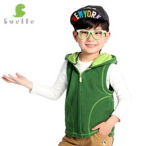 Svelte для детей мальчиков девочек унисекс конфеты цветной флис жилет с капюшоном дети полные zip gilet whistcoat мальчик девушка одежда 201106
