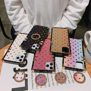 For iPhone 12 11 PRO XS XR MAX 8 7 6 Plus Glitter Luxury Designer Phone Kickstand LOVE Case Diamond Fashion Phone Cases