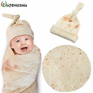 Burrito Baby Blanket Swaddle Flour Tortilla Swaddle Blanket Sleeping Swaddle Wrap With Hat 201022