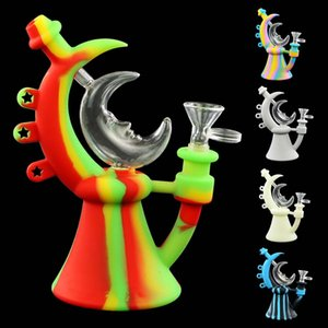 hand pipe smoking moon pipes water pipes silicone bong with glass bowl unbreakable silicone smoking water pipe