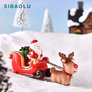 Christmas Santa Claus Sled Deer Tree Figurine Doll House home decor miniature fairy garden decoration accessories modern statue