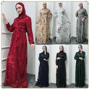 Этническая одежда Роскошная мусульманская кружева вышивка бронзы Abaya Полные платья кардиган кимонолонг халаты халаты Джуба Ближнего Востока Ид Рамадан Ислам