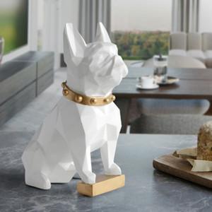 الفرنسية البلدغ ديكور الكلب منحوتات مجردة التماثيل الحيوان السطح هندسية تماثيل هدية هدية للمنزل مكتب ديكور سطح المكتب